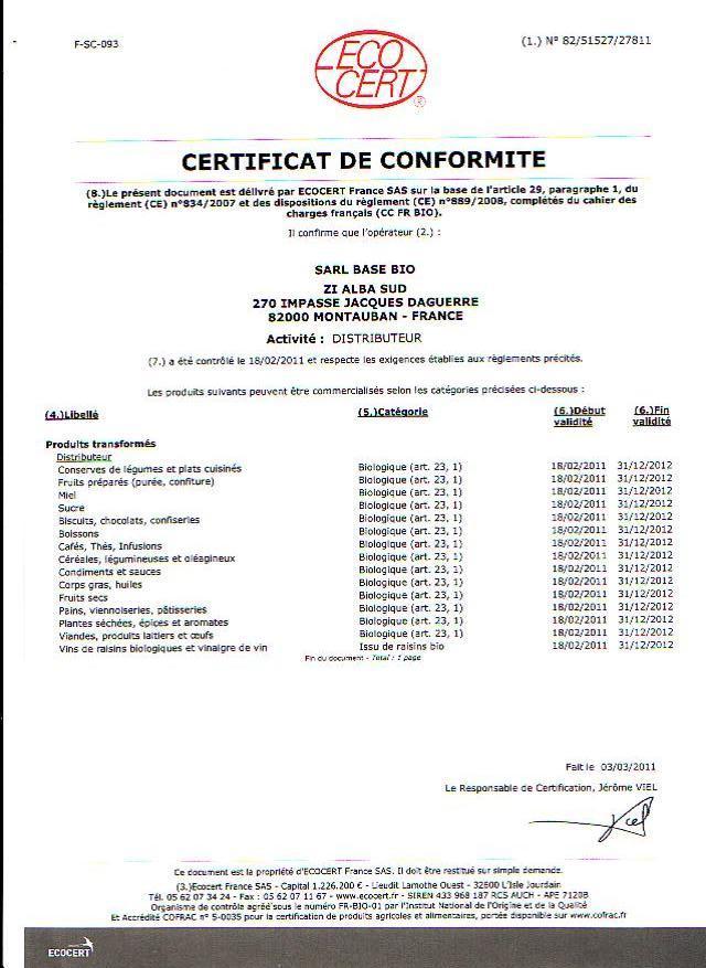 Certificat Ecocert 2011